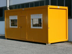 WEIRO® container Model C 60 as construction accommodations, with galvanized and painted window bars available as special equipment